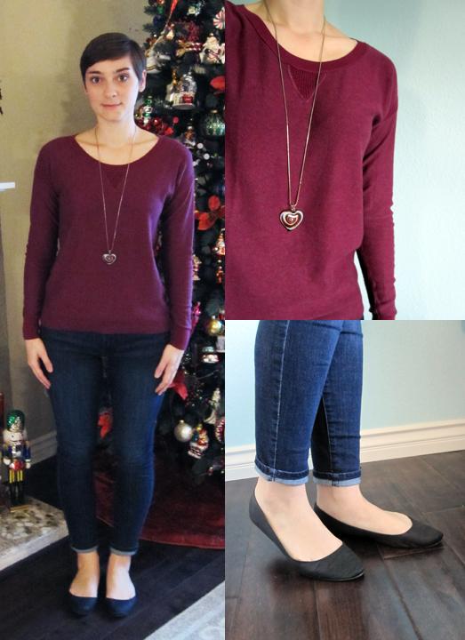 ootd - burgundy sweater, skinny jeans, black flats