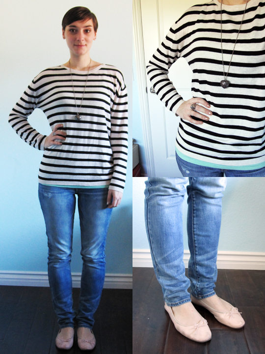 ootd - oversize stripe sweater, pastel mint tank, light wash skinny jeans, blush pink flats