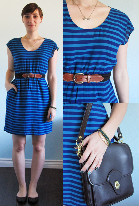 ootd - Old Navy blue & blue stripe dress with front pockets, vintage belt, vintage purse