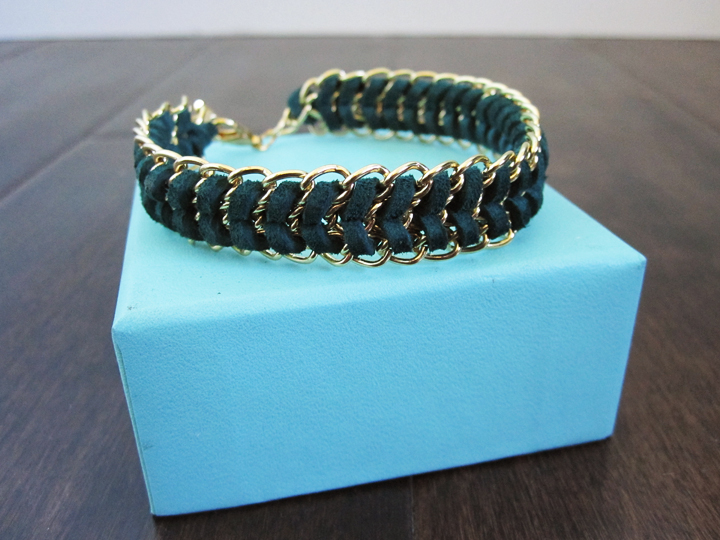 DIY woven suede and chain chevron bracelet