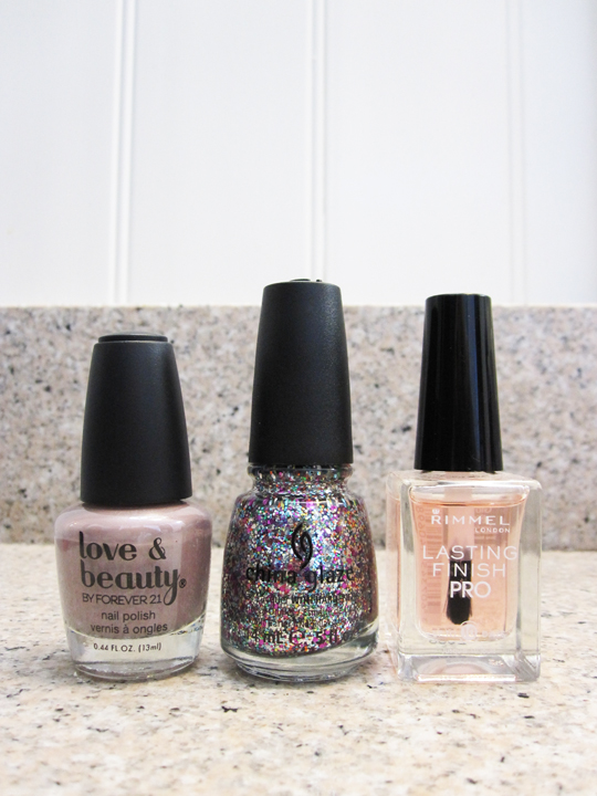 polishes - Forever 21 pale lilac, China Glaze Pizzazz glitter, Rimmel top coat