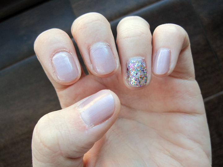 "notd - pale lilac and ""pizzazz"" confetti glitter"