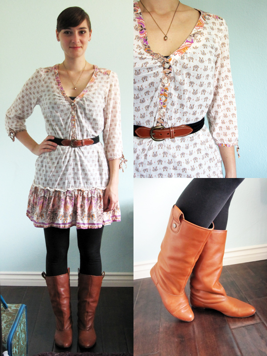 ootd - H&M bohemian tunic top, black leggings, Zara riding boots, vintage belt