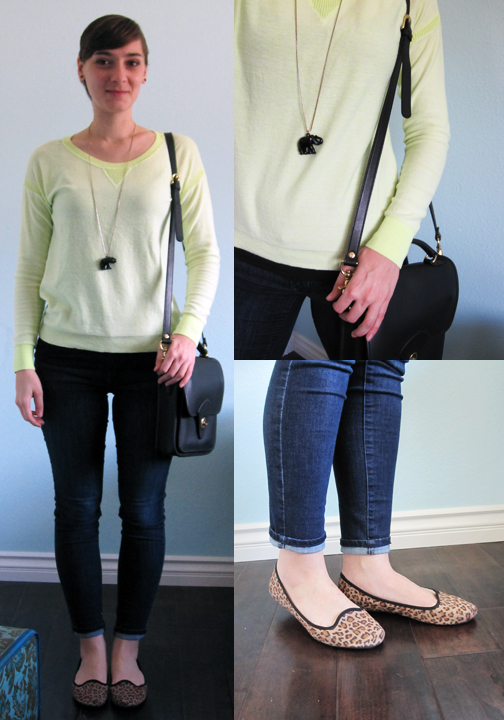 ootd - skinny jeans, neon sweater, leopard flats, black accessories