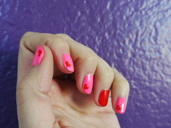 notd - neon pink wth red hearts