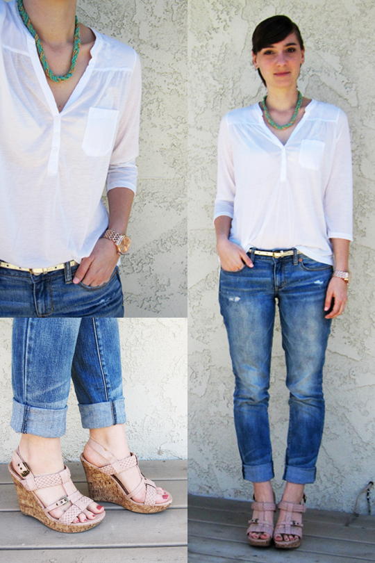 ootd - white blouse, skinny boyfriend jeans, wedges, statement necklace, rose gold watch