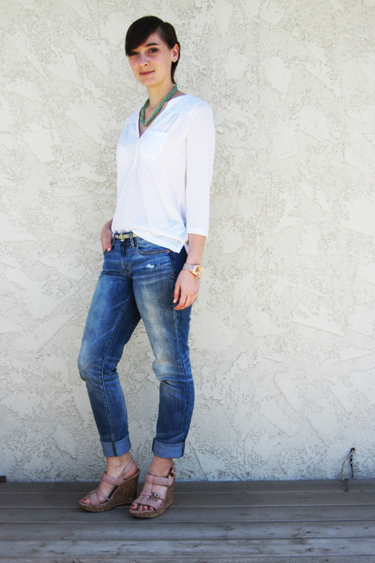 ootd - white blouse, skinny boyfriend jeans, wedges, accessories