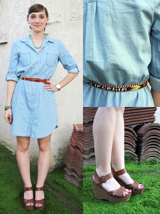 ootd - chambray shirt dress, vintage belt, tan wedges