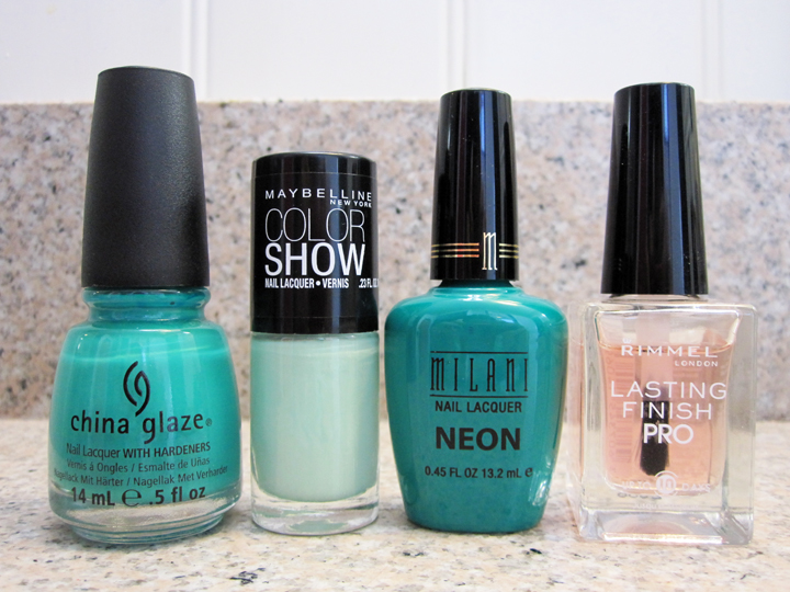 notd - China Glaze, Rimmel, Maybelline Color Show, Milani green, mint, teal nail polish