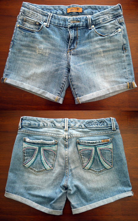 DIY jeans to shorts - after