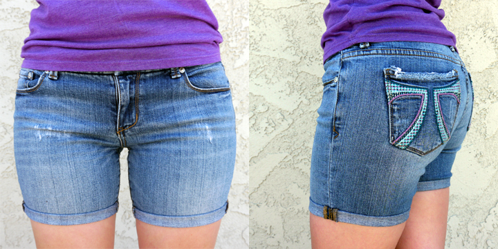 DIY jeans to shorts