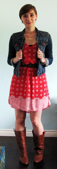 ootd - red eastern boho dress, belt, riding boots, jean jacket