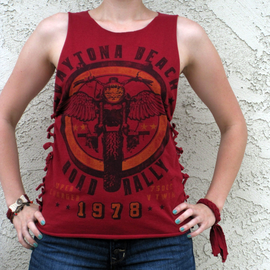 t shirt DIY tie side seam moto tank top