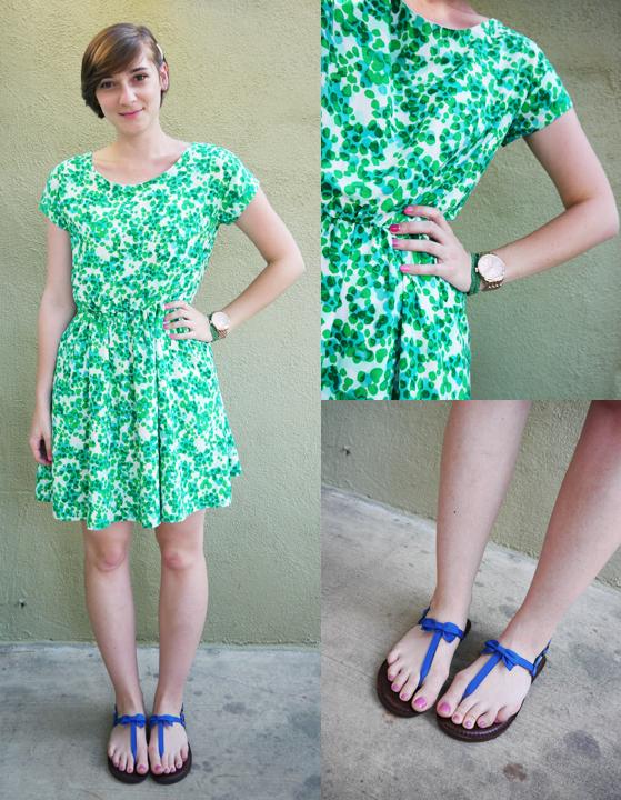 ootd - green print dress, sandals, accessories