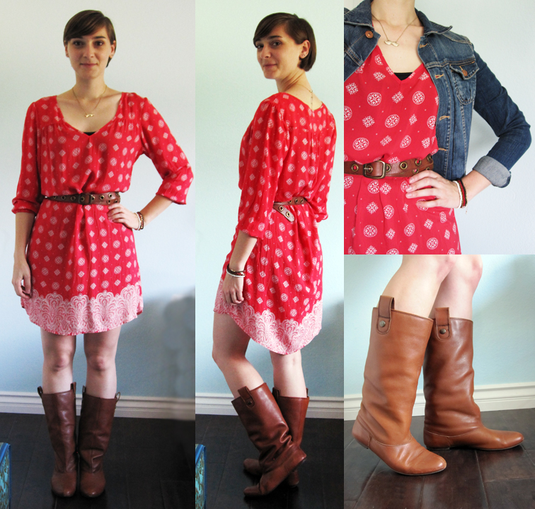 ootd - red dress, belt, riding boots