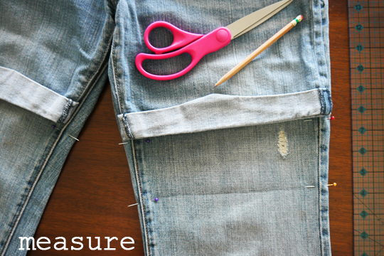 DIY jeans to shorts - measure
