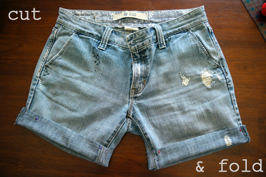 DIY jeans to shorts - cut & fold to create new hem