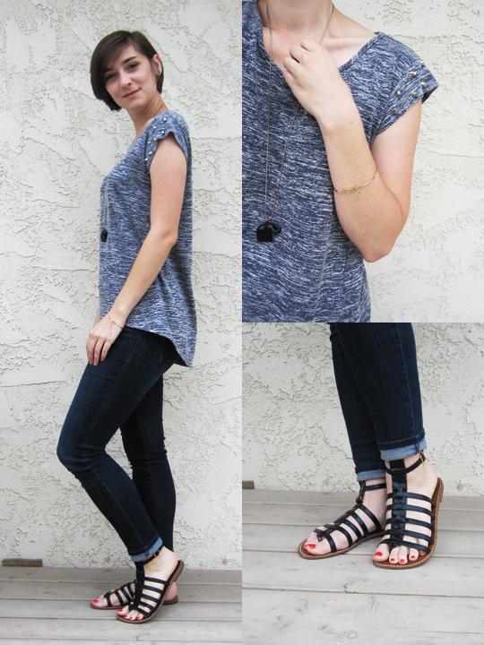 #ootd - dip hem stud top, skinny jeans, gladiator sandals