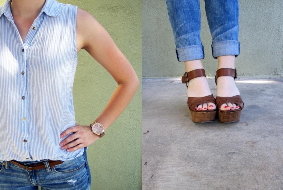 ootd - linen shirt, boyfriend jeans, wedges