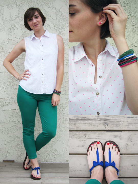 ootd - polka dot tank, green jeggings, sandals