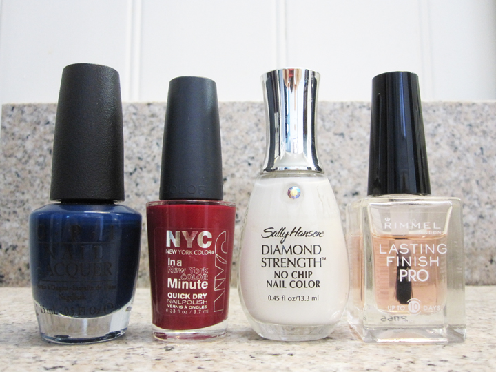 notd - red, white and blue polishes