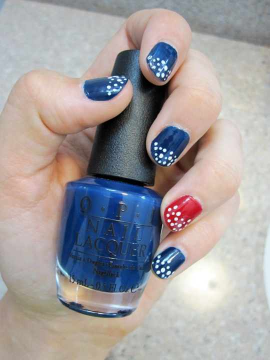 notd - red, white and blue polka dots OPI polish