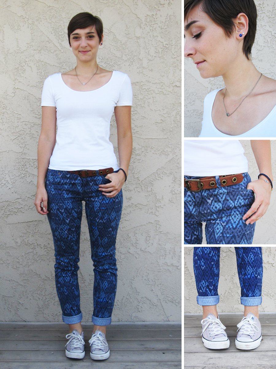 ootd - white shirt, pattern pants, Converse