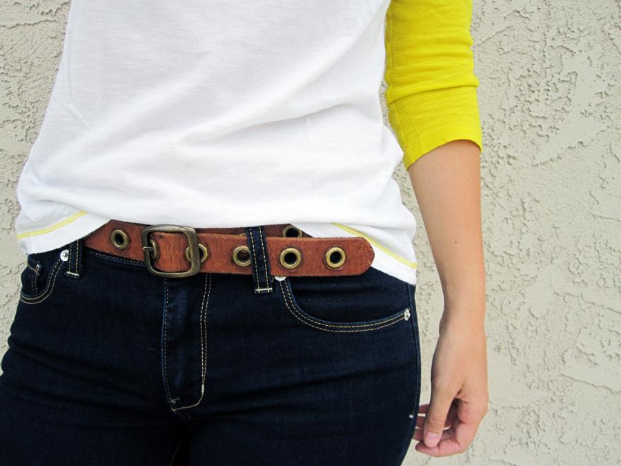 ootd - baseball t, front tuck, belt, jeans