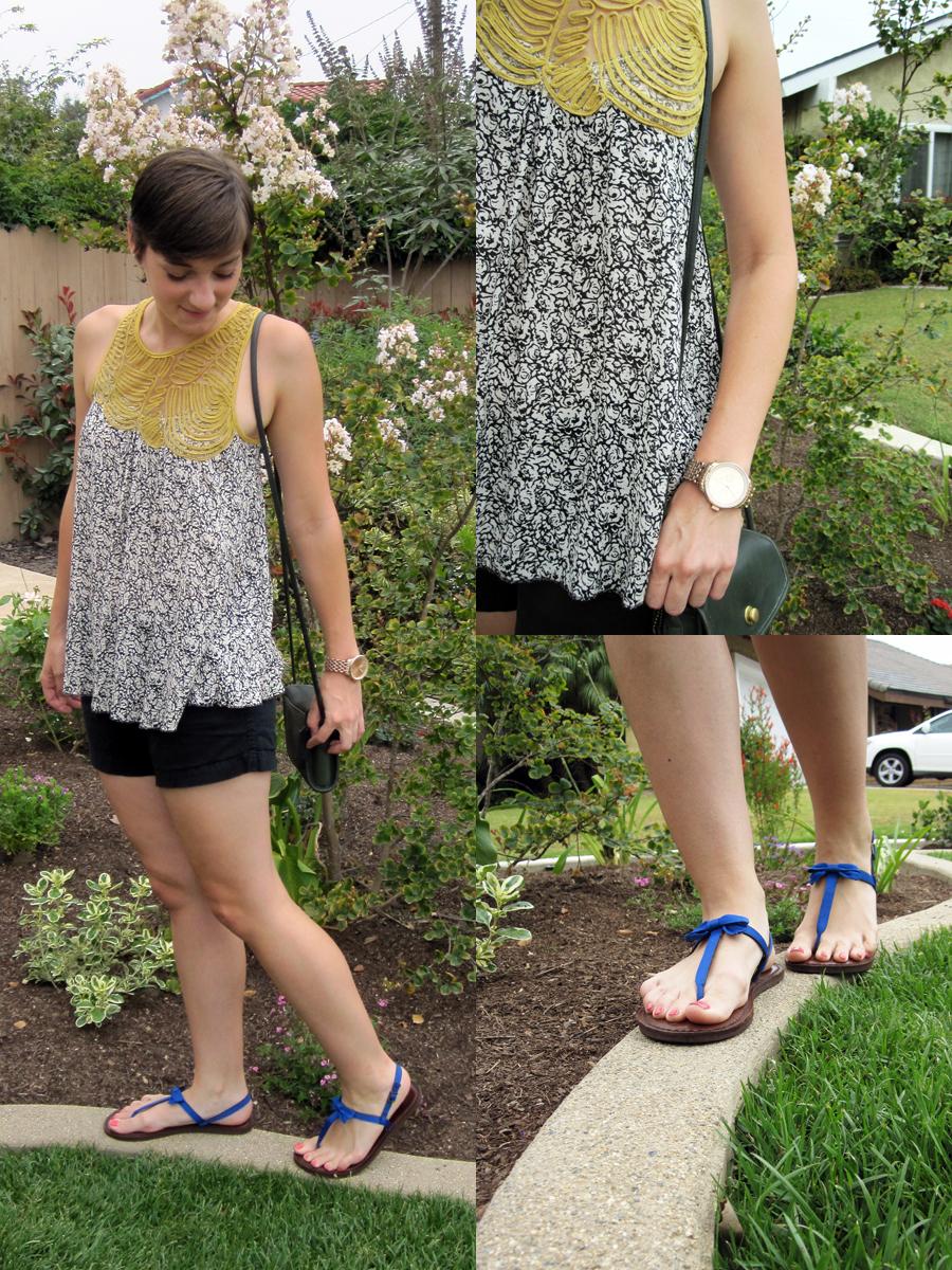 ootd - flowy top, black shorts, sandals