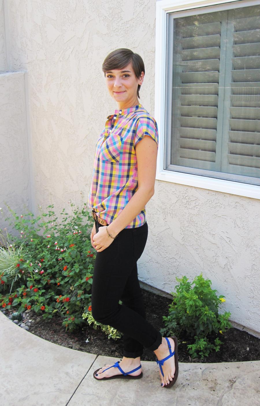 ootd - vintage check shirt, black skinny jeans, sandals