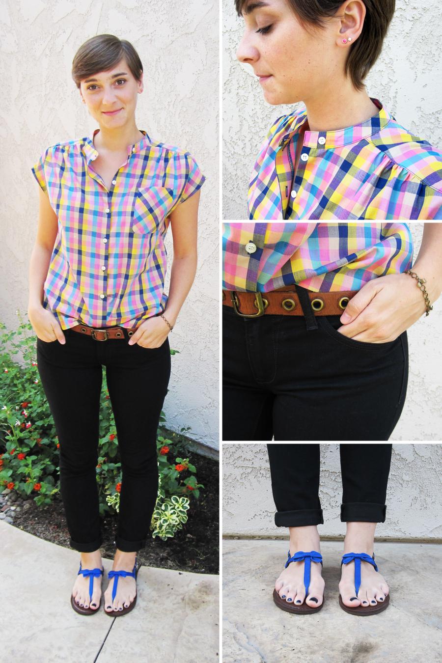 ootd - vintage shirt, black skinnies, sandals