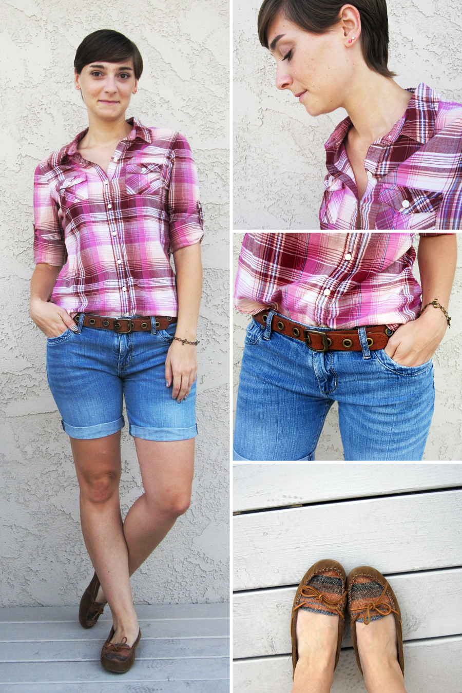 ootd - plaid shirt, shorts, moccasins 2