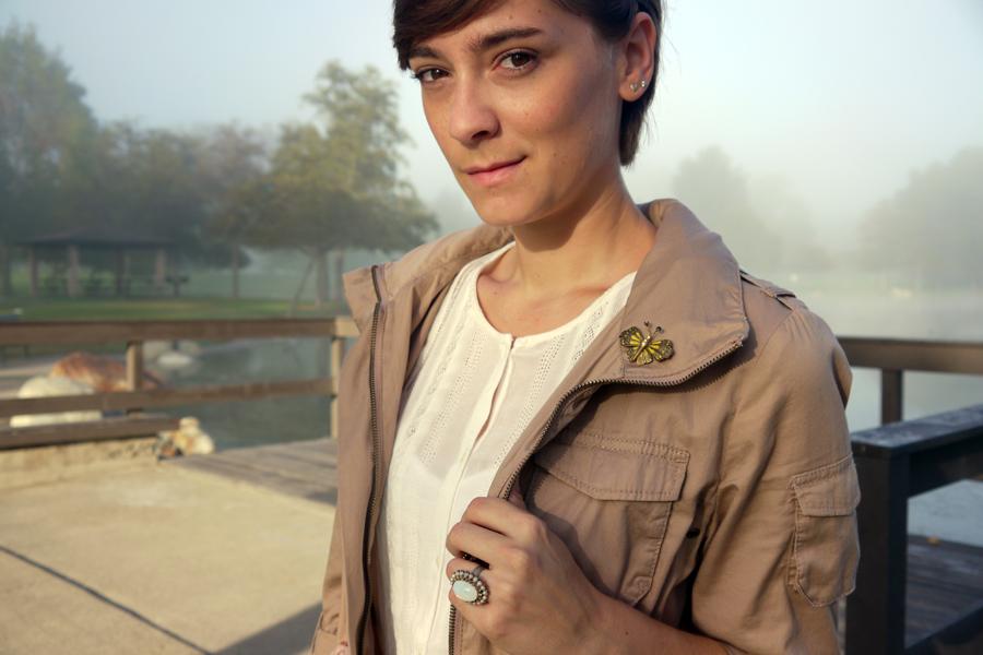 #ootd - white dress, military jacket, vintage jewelry