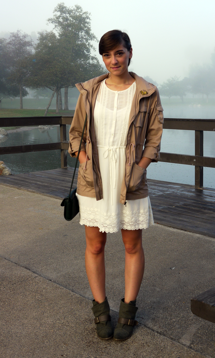 #ootd - white lace dress, military jacket, booties 01