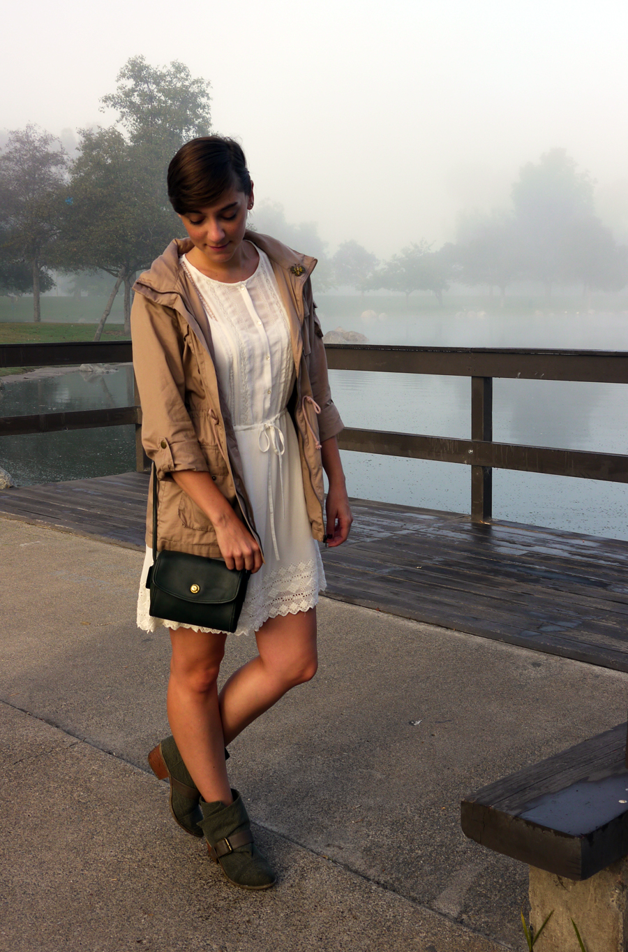 #ootd - white lace dress, military jacket, booties 02