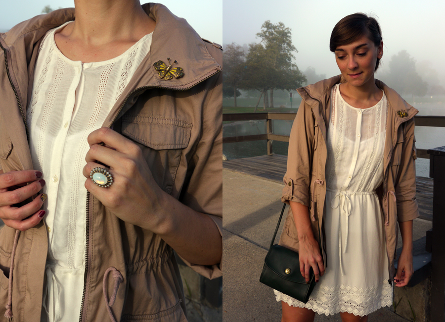 #ootd - white lace dress, military jacket, booties 04