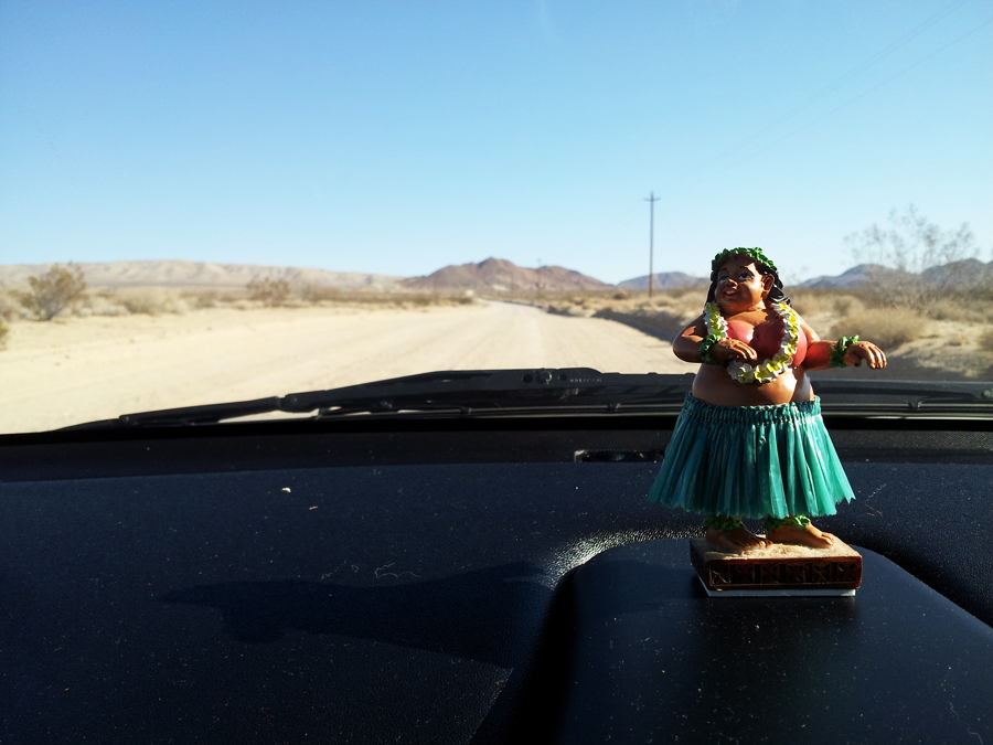 Checking out the view of the curvy hula girl I bought Derek in Hawaii and our road out on the dirt.