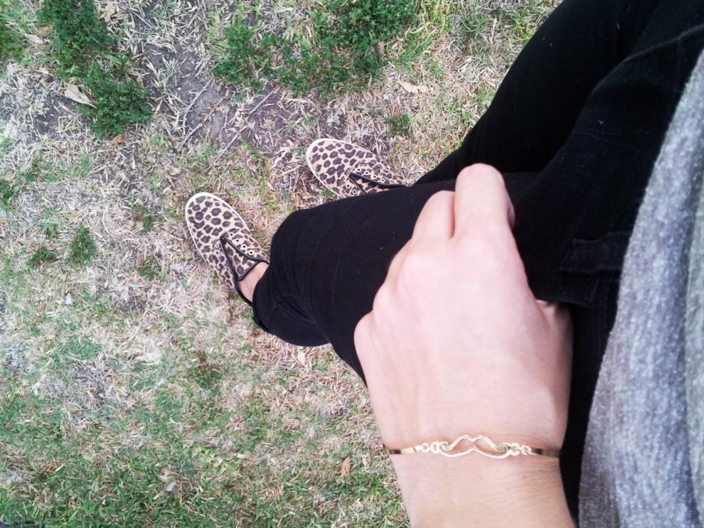 ootd - leopard Keds, moustache bracelet