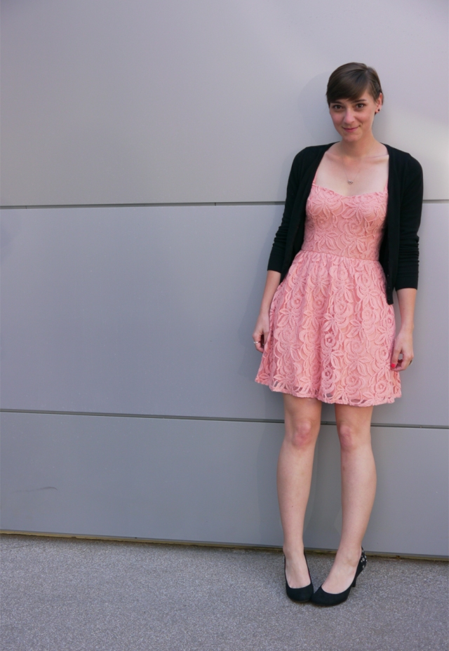 pink-lace-dress-black-cardigan-heels