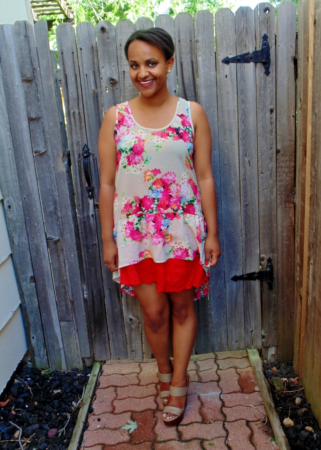 floral hi low top over a red skirt and wedges