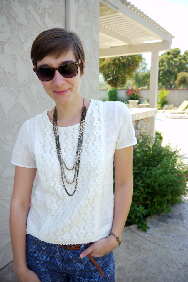 #OOTD-white-lace-top-blue-pattern-pants-necklace-sunglasses