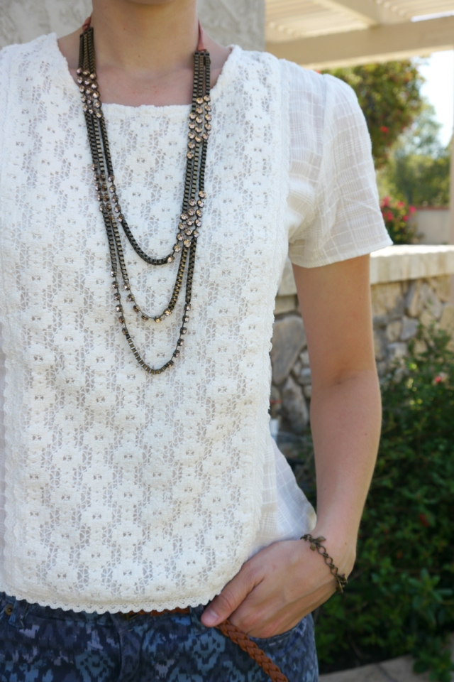 #OOTD-white-lace-top-blue-pattern-pants-necklace