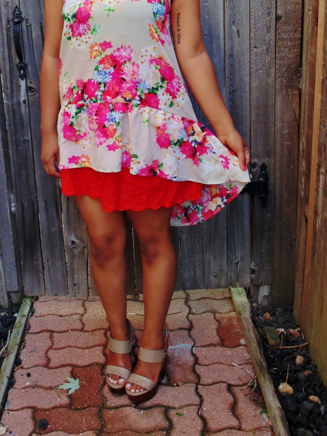 red skirt nude wedges floral top