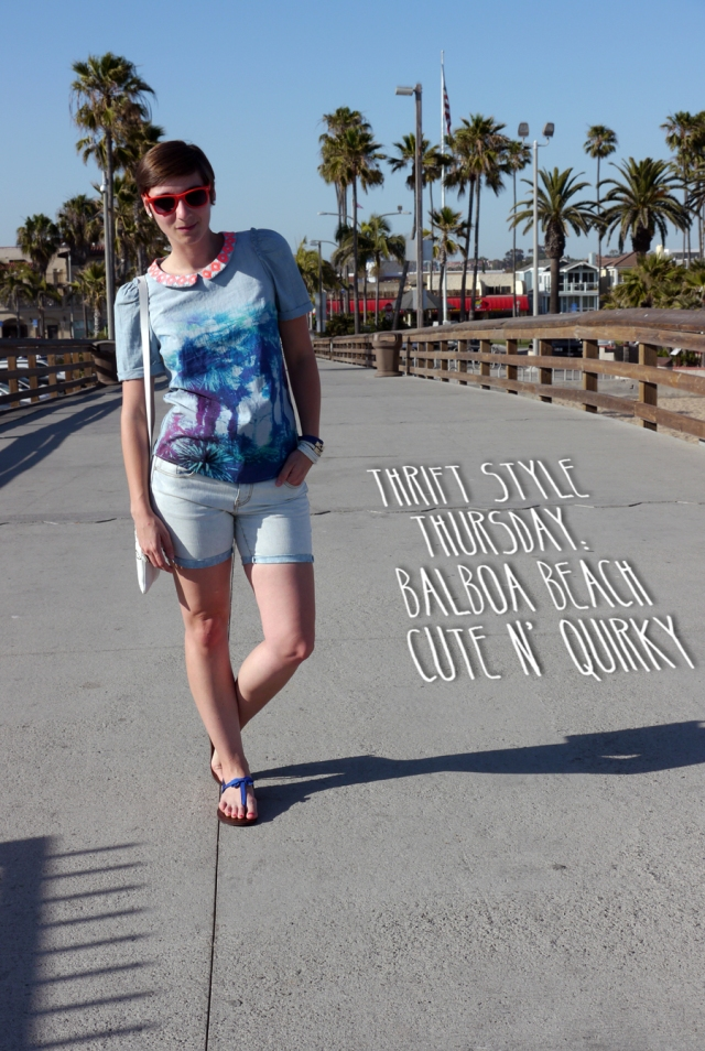 Thrift-Style-Thursday-beach-pier-California-shorts-sandals_title