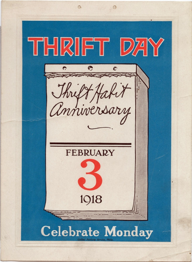 "A WWI-era poster announcing Feb 3 as ""Thrift Day."""