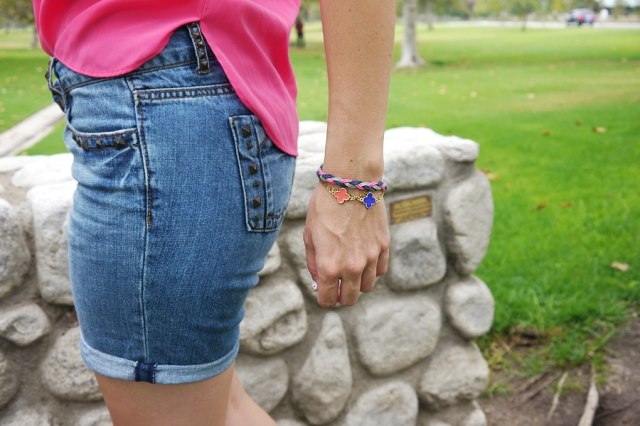Thrift-Style-Thursday-studded-shorts-clover-braided-bracelets