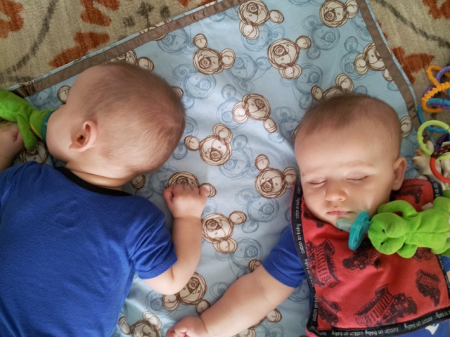 My nephews are getting so big and so cute!  I convinced them to take a little snooze before their mom came home!  ;)