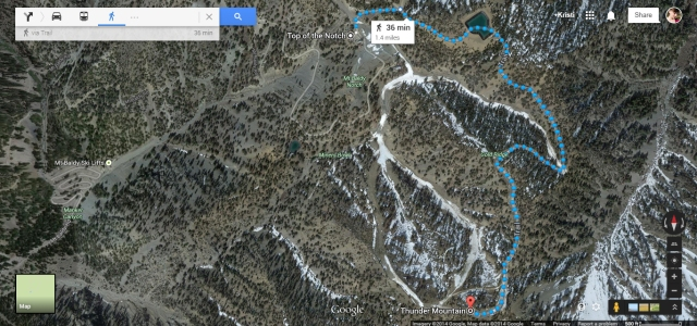 In this map you can see the hike itself from the restaurant to the peak we chose, as well as the ski lifts at the base (on the left) as well.