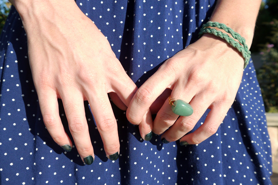 Thrift-style-polka-dot-dress-accessories-ring-bracelet