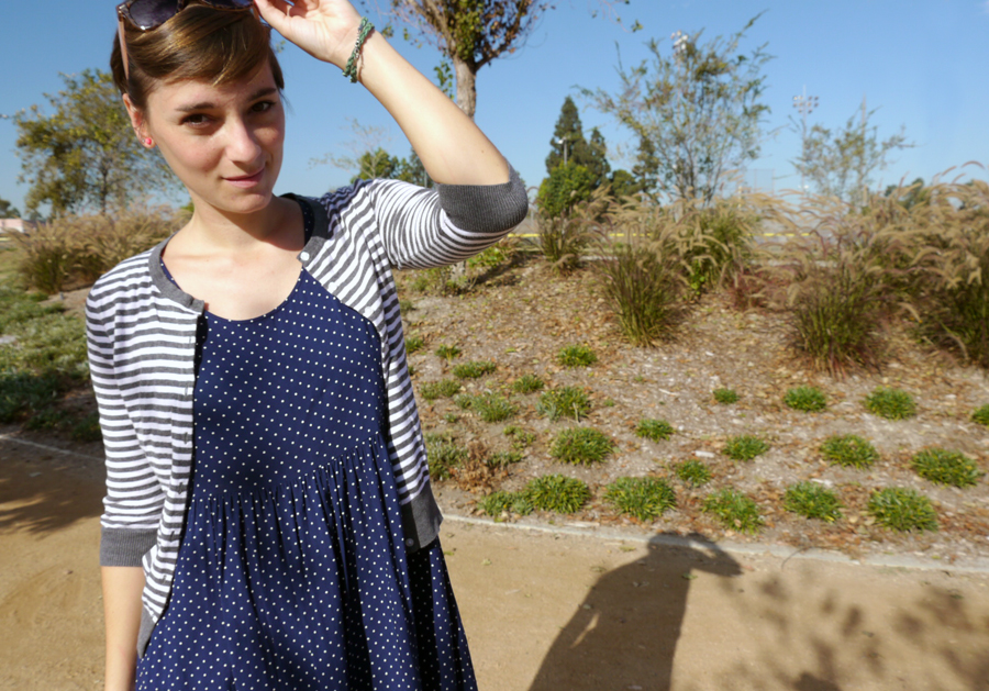Thrift-style-polka-dot-dress-stripe-sweater-accessories